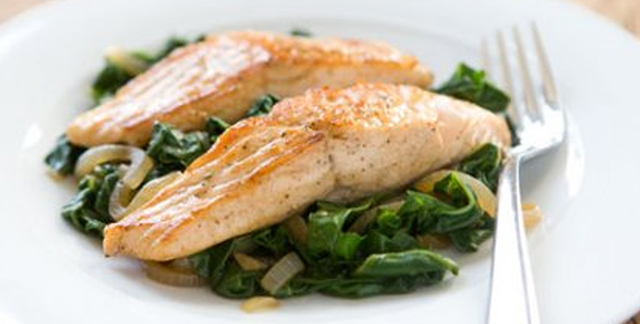 This Salmon with Swiss Chard recipe is brought to you by Sentara Healthcare in Hampton Roads